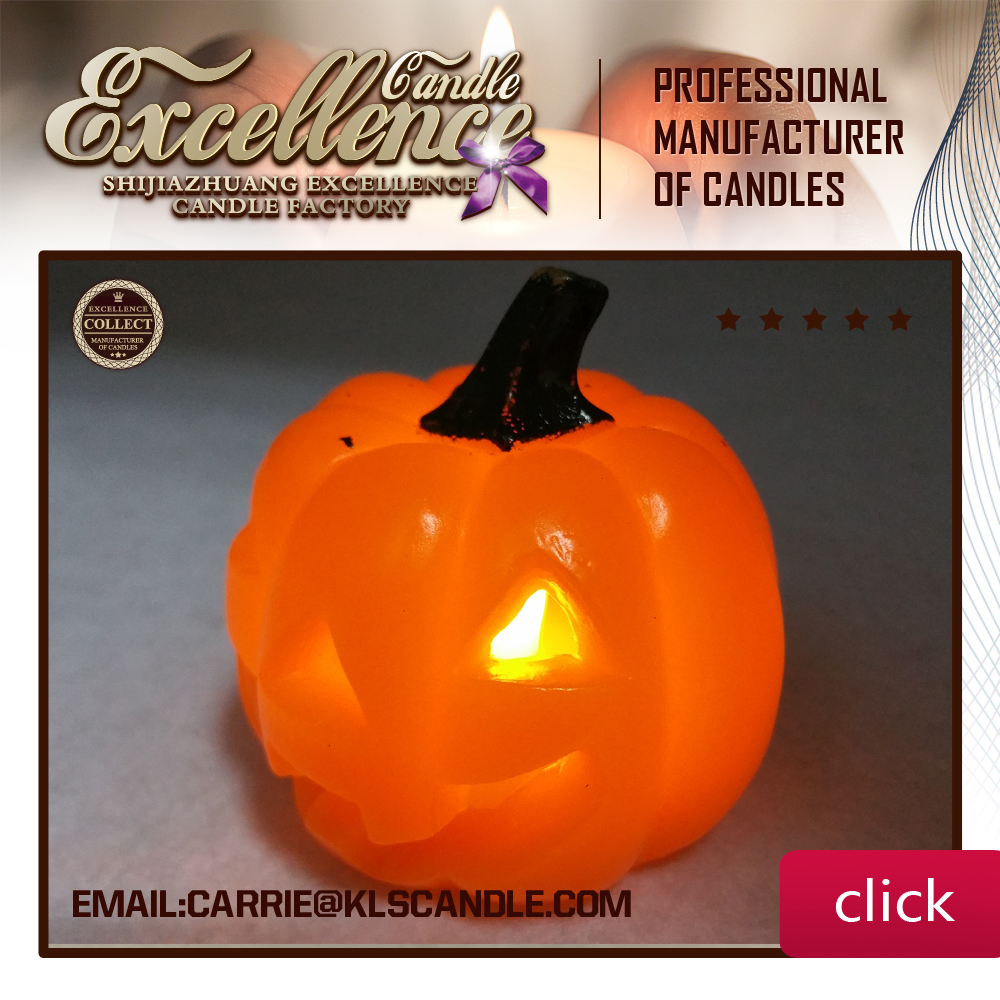 Pumpkin Style Halloween Flame LED Candle with Yellow Light