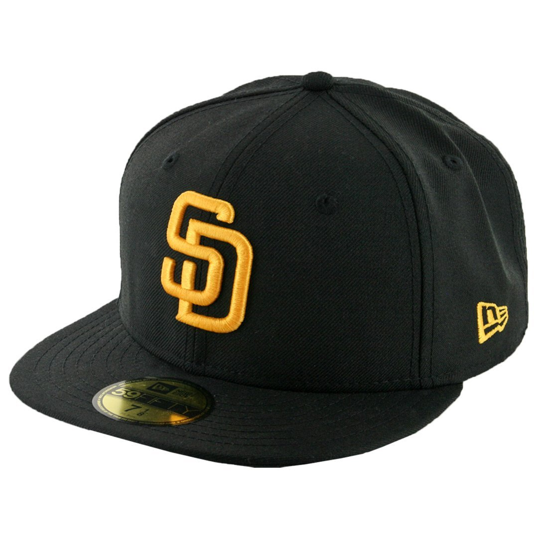 on sale e0de8 cb45e New Era 59Fifty San Diego Padres Fitted Hat (Black Gold) Men s Custom MLB