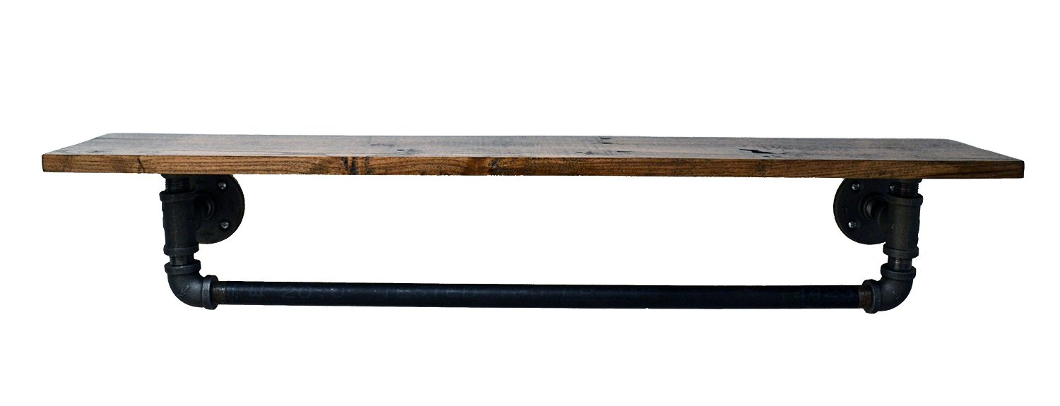 """Turnbull Farms Reclaimed Wood and Pipe Towel Rack (24"""", Jacobean) - Multiple Colors/Sizes"""