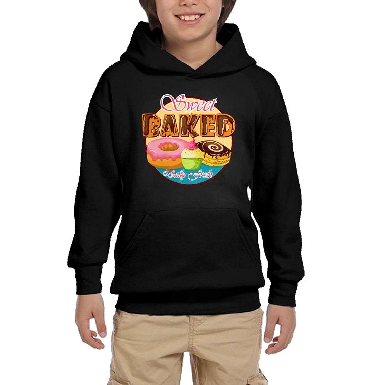 Cartoon Donut Boy Girls Pullover Hoodies Athletic Hooded Sweatshirts With Pocket
