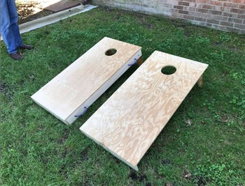 Interlocking Corn Hole Boards Raw Diy Hideaway Board Bean Bag Toss Stow Away