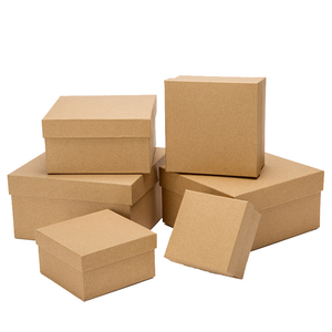 High Quality DIY Custom Logo Handmade Hard Cardboard Square Shape Brown Kraft Gift Paper Box with lid