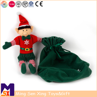 2018 wholesale christmas elf doll in green bag christmas plush elf