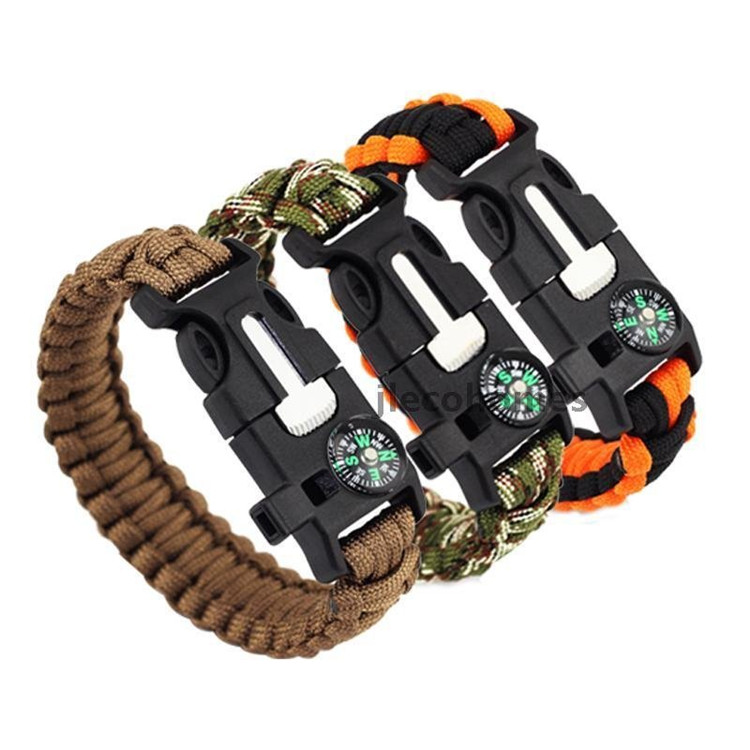 5 in 1 compass fire whistle paracord bracelet clasp