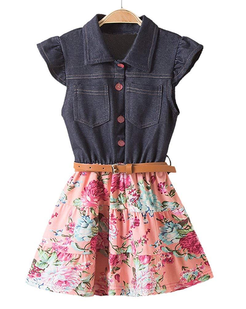3d94bc1ba Get Quotations · Horcute Fahion Denim Floral Swing Skirt with Belt Girls  Dress