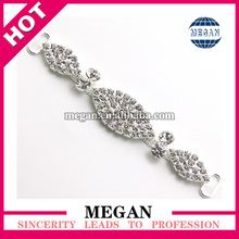 Triple Rhinestone Connector Headband Studded Elastic Stretch Fold Over Silver Buckle
