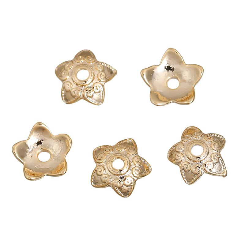 Zinc Based Alloy Beads Caps Pentagram Star Gold Plated