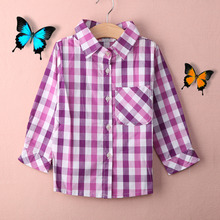 2016 New Fashion Baby Boys Spring Autumn Cotton British Plaid Shirts Boy Girl London Style Shirt