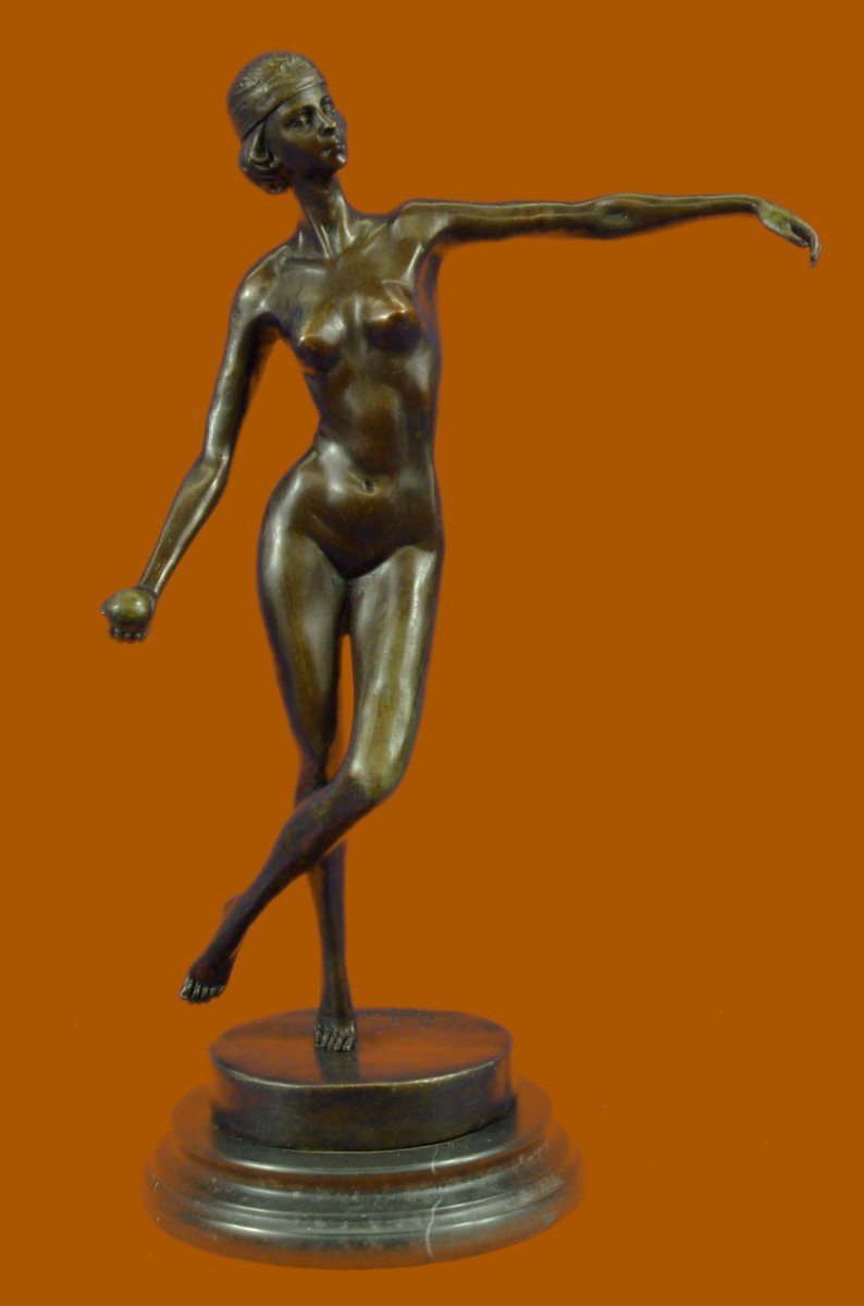 ...Handmade...European Bronze Sculpture Nude Girl Ball Player Signed By Russian Artist Tourgueneff (DS-188-UK) Bronze Sculpture Statues Figurine Nude Office & Home Décor Collectibles Sale Deal Gifts