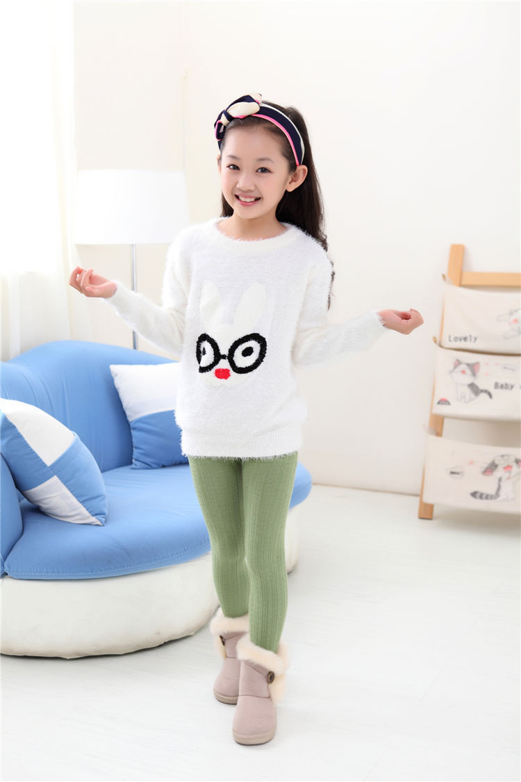 2014 children kids girls Sweaters coat Autumn winter Fashion Pullovers knit kids clothing Rabbit pattern sweater 3 - 13Y