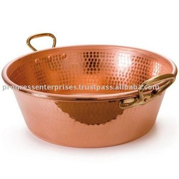 Solid Copper Hammered JAM Bowl with Brass Handles