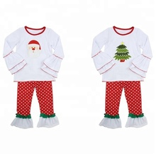 Hot sell newborn baby clothes XMAS toddler girls ruffle shirts pants children christmas boutique outfits