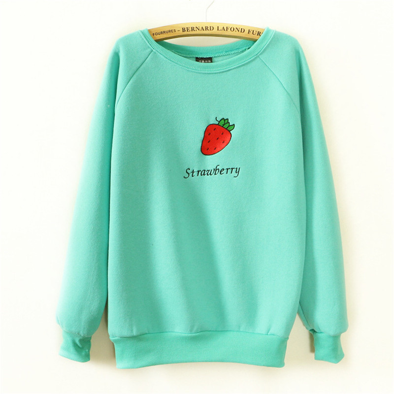 f7c8baf13ddc8 Get Quotations · 4 Color Harajuku Embroidery Strawberry casual sweatshirts  Women hoodies fleece inside good quality cotton sweatshirt