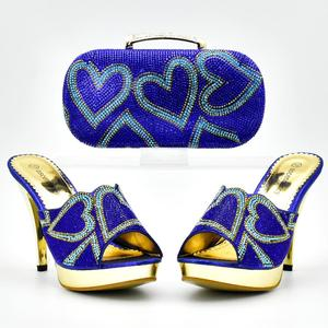 Fashion elegant blue Ladies Italian Shoes and Bag Set Decorated with Rhinestone Italian Matching Shoes and Bag Set for Wedding