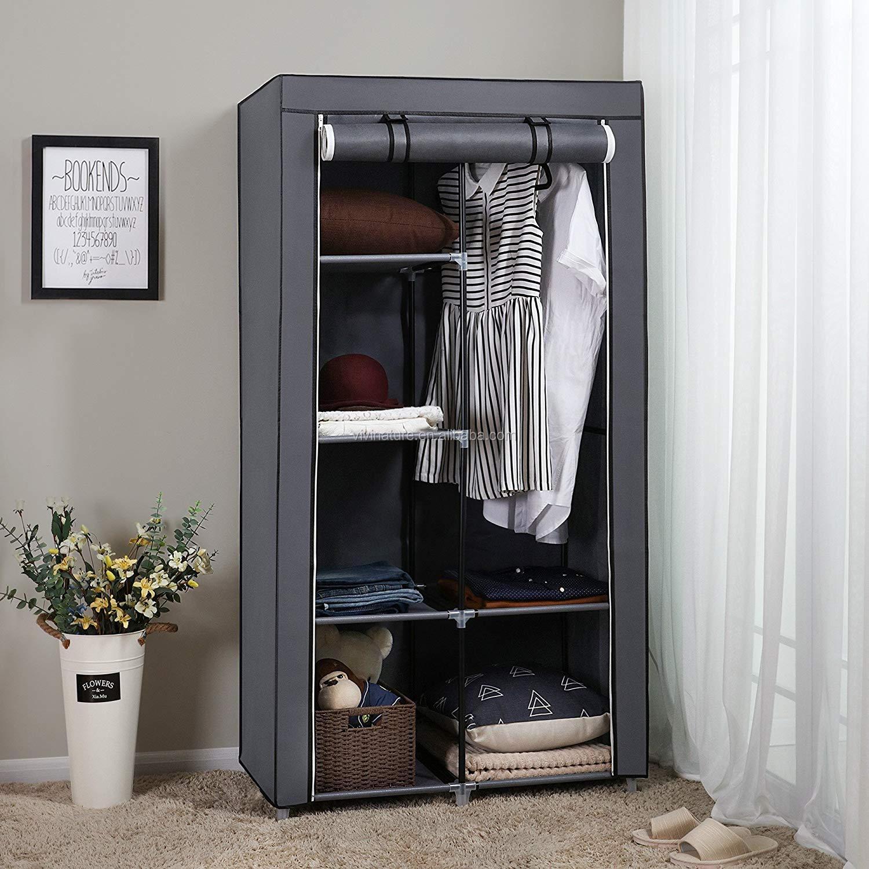 خزانة الملابس المحمولة خزانة مع رف النسيج غير المنسوجة وقضيب معلق ،