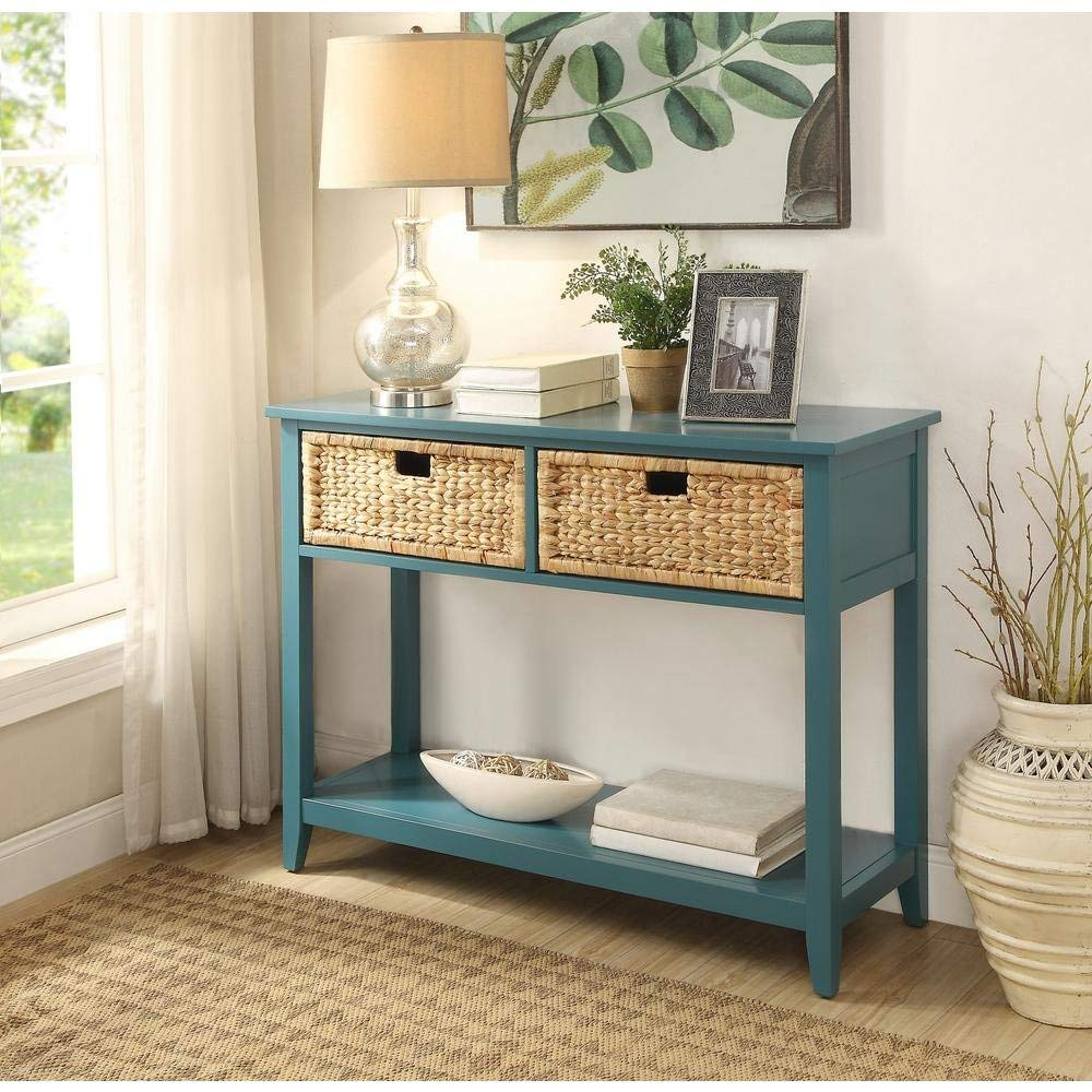 Major-Q Console Table with 2 Drawers and Open Storage for Dining/Kitchen / Living Room, Rectangular, Wood Rustic and Teal Finish, 44 x 16 x 28
