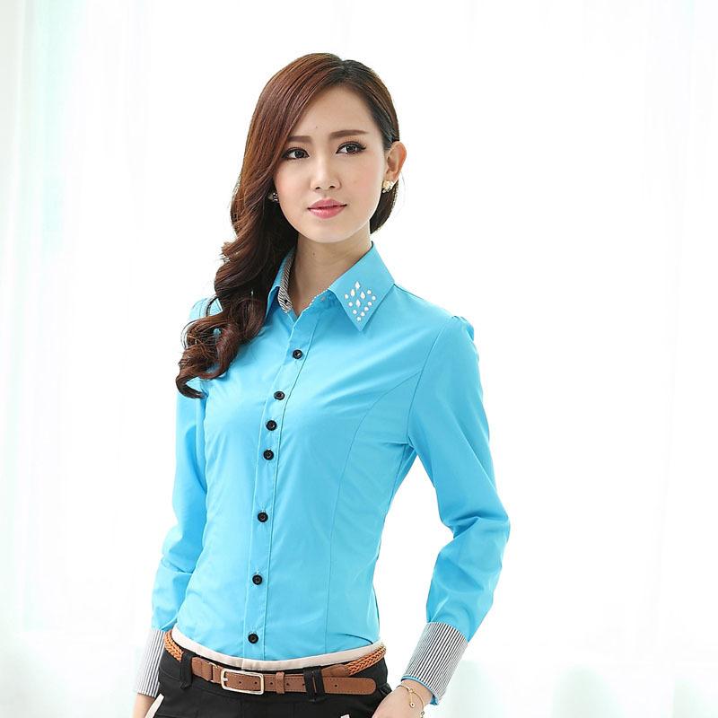 49aec5b228f525 Buy Formal Female Blue Shirts Women Long Sleeve Work Blouses OL Fashion  Ladies Office Uniform Shirts Plus Size XXXL in Cheap Price on Alibaba.com