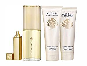 White Linen Gift Set By Estee Lauder 4 Pcs 3.0 Oz Edp .3.4 Oz Body Lotion, 3.4 Oz Shower Gel and .17 Oz Travel Spray