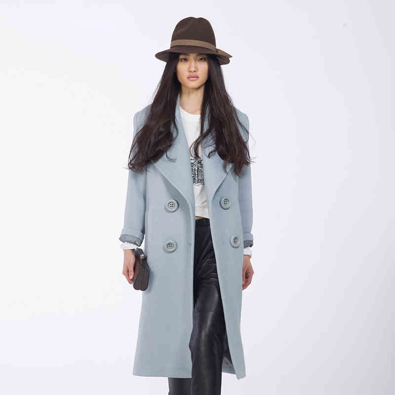 b8e8dd6e58864 Get Quotations · 2015 New Design Winter coat women Light Blue Wool Coat  Oversize double-breasted long wool