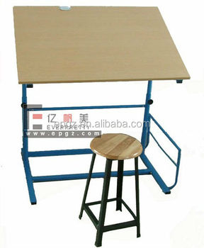 Art School Classroom Wood Drafting Table Design With Metal Frame, Kids Art  Table