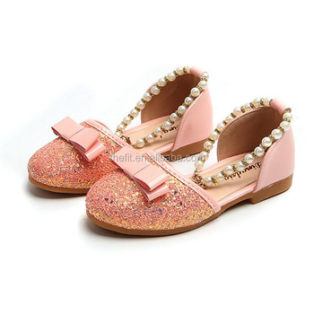 Princess Shoes 2018 Spring Summer Kids Girls Fashion Beaded Single Shoes  Leather Sandals Shoes with Bow dd0f53fbfbe5