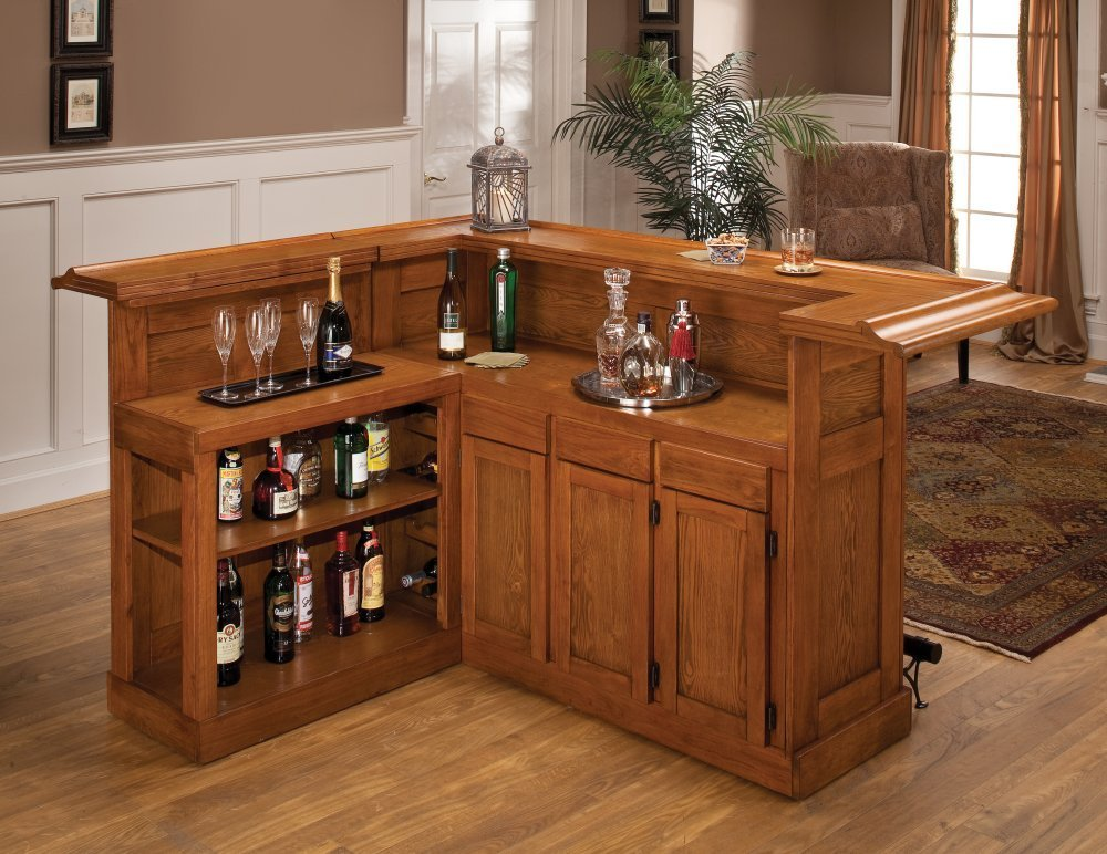 "Hillsdale Furniture 62576AXOAK Classic 78"" Large Bar with 12 Wine Bottle Storage Side Bar Foot Rest China Oak and Wood Veneer MDF Construction in Oak"