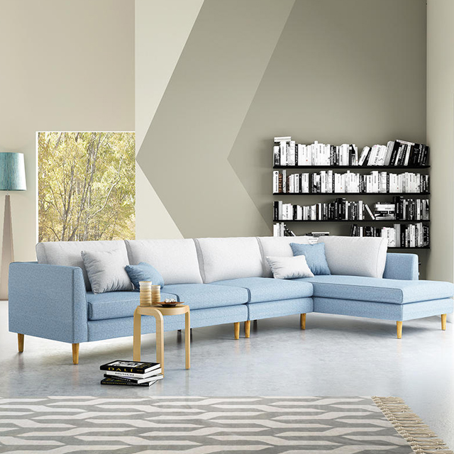 Modern Corner Sectional Couch L Shaped Fabric Furniture Living Room Sofa
