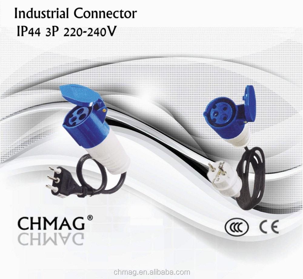 240v electrical connectors 220 volt plugs industrial plug and socket connector with cable 3-pole connector
