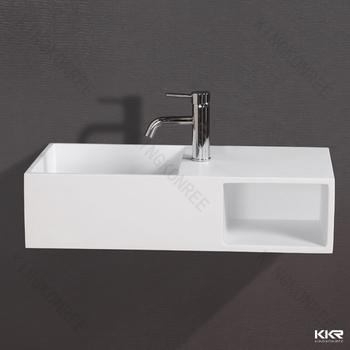 Half Pedestal Wash Basin Solid Surface Stone Acrylic Kkr