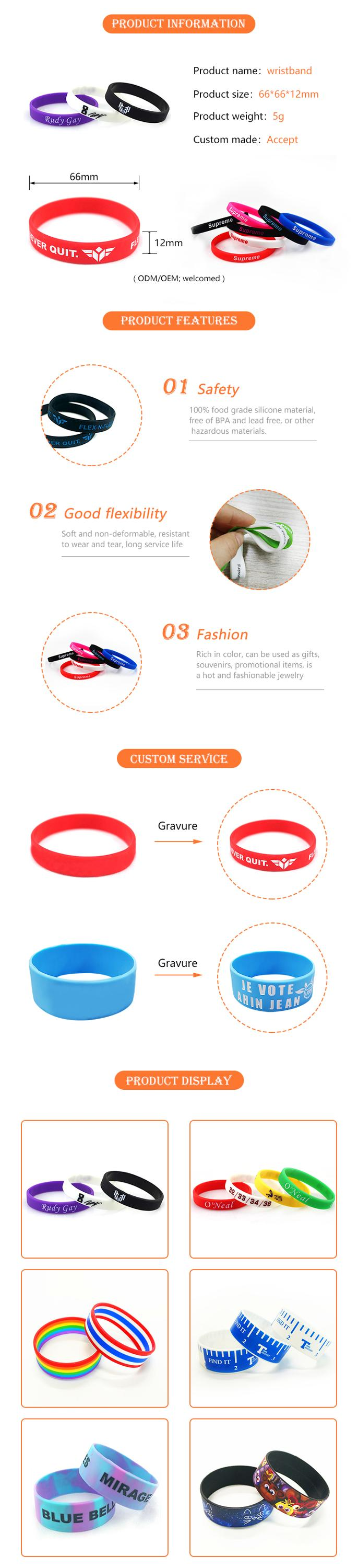 Europe Custom Cheap Charity Plain promotional Rubber Silicone Round Wristband Bracelet debossed