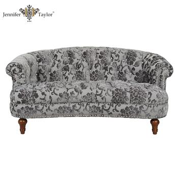 Antique Design Tufted Back Nailhead Trim Rose Pattern Small Chesterfeild  Sofa