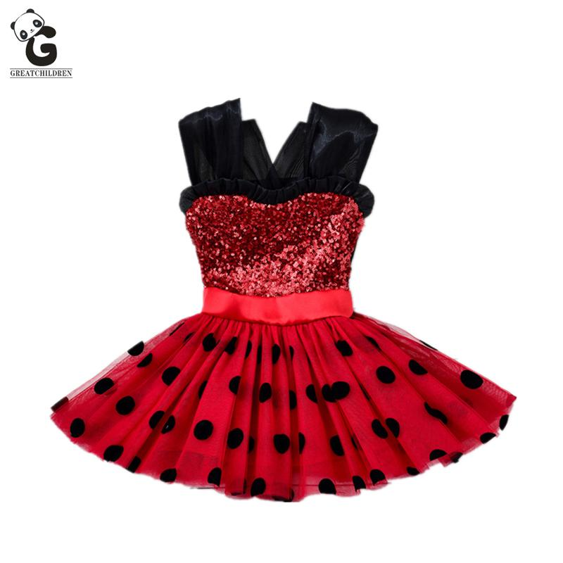 Girl Dresses Ladybug Cosplay Costumes Kids Red Flash Dress For Girl Dot Dress for Party and Wedding Ballet Dress фото