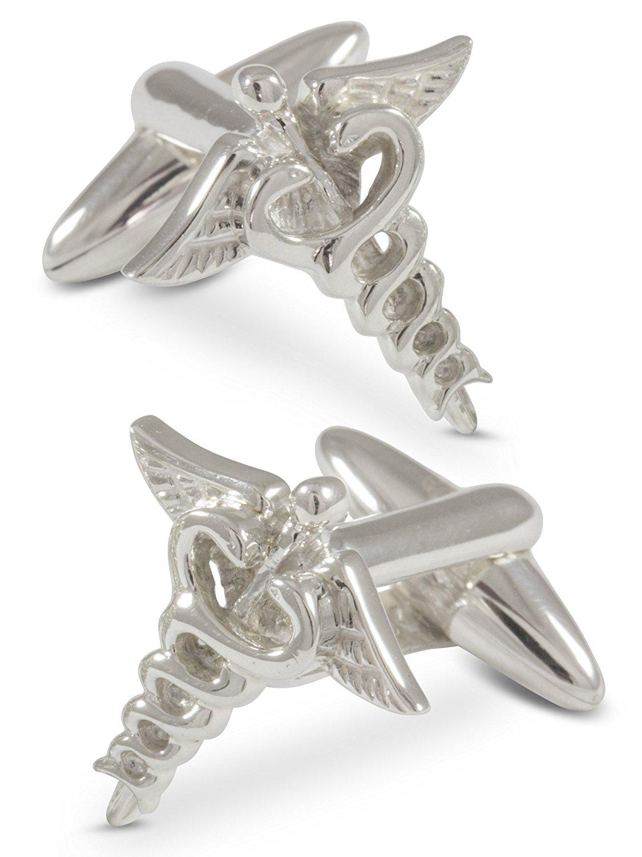 ZAUNICK Medical Doctor Caduceus Cufflinks, Sterling Silver