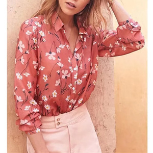 2019 New Arrivals Summer New Print Lapel Long Sleeve Casual Loose Shirt Women Tops Blouses