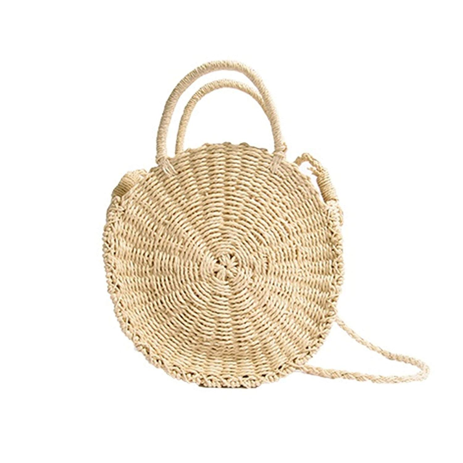 3e850be91eb2 Get Quotations · Andear Womens Straw Woven Handbags Summer Beach Holiday  Round Tote Bags Shoulder Crossbody Bags