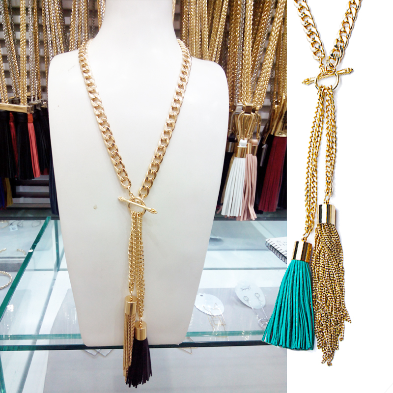 Custom Women Long 18kgp Gold Jewellery Necklace