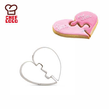 2Pcs/set stainless steel creative half heart shaped cookie cutter supplies