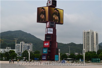large free standing outdoor led advertising pylon sign