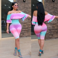 2017 Summers Sex Clubwear Party Playsuit ladies Gradual change of color jumpsuits romper