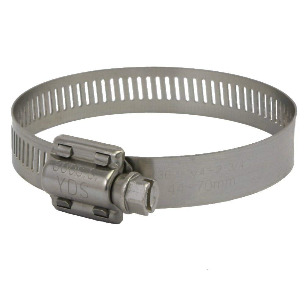 "YDS All 300 Grade Stainless Steel High Torque Hose Clamp, Worm-Drive, SAE Size 36, 1-3/4"" to 2-3/4"" Diameter Range, 1/2"" Bandwidth (Pack of 10)"