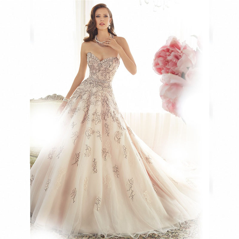 Luxury Crystal Princess Wedding Dress Ball Gown 2015 Off The Shoulder Tulle Sweetheart Wedding Dresses Vestido De Noiva Princesa