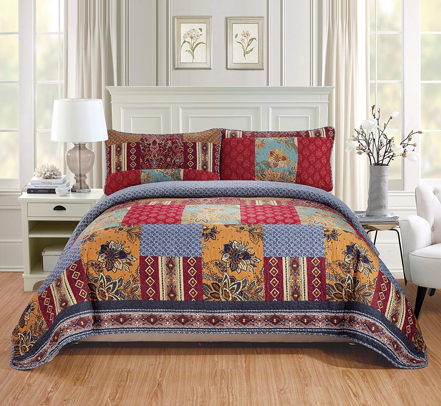 MK Home 3pc Full//Queen Bedspread Quilted Print Floral Beige Red Blue Taupe Over Size New # Jane 64