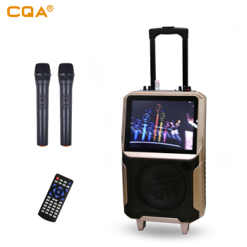 "2019 best-selling CQA hot new trolley 12"" LCD SCREEN KARAOKE PARTY VIDEO SPEAKER for home party dancing"