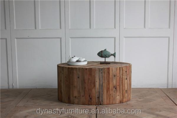recuperada rstico muebles mesa de centro redonda base de madera