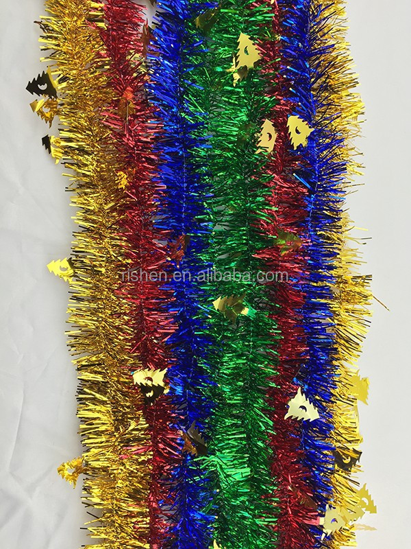 leaf style fiber optic christmas tinsel garland popular Xmas wired tinsel garland