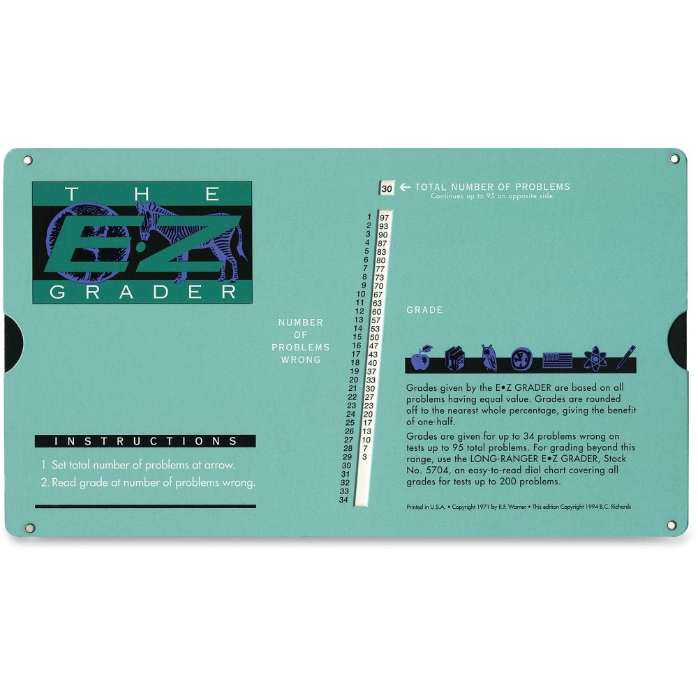 "Advantus Corp. Products - Chart, EZ Grader, 8-1/2""x4-3/4""x1/8"" - Sold as 1 EA - Chart is thin enough to fit inside any folder or binder and durable enough to withstand the battles of classroom instruction. Calculate grade percentages for up to 95 problems."