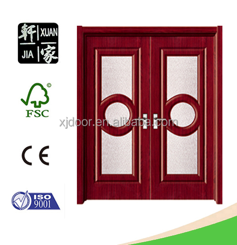 Wholesale modern design mdf pvc coated carved wood double doors with room doors