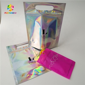 Heat seal zip top eyelashes pink holographic stand up pouch / clear front see through plastic holographic bag
