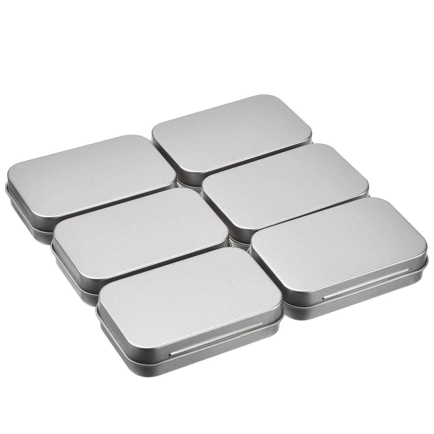 Lvcky 6 Pack 3.75 x 2.45 x 0.8 inch Tins Container Rectangular Hinged Containers Small Storage Kit Silver Metal Empty Mini Portable Tin Box, Home Organizer