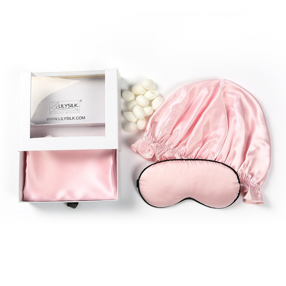 LILYSILK Pure Mulberry Silk Pillowcase Queen 20x30 inches Pink Sleeping Cap Pink Eye Mask and 12 Cocoons Set